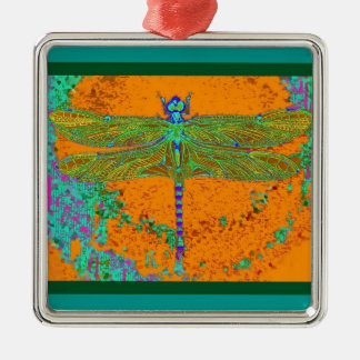 Teal-Orangy Dragonfly Gifts by Sharles Metal Ornament