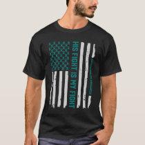 Teal Ovarian Cancer Awareness Ribbon American Flag T-Shirt