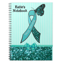 Teal Ovarian Cancer Awareness Ribbon & Butterfly C Notebook