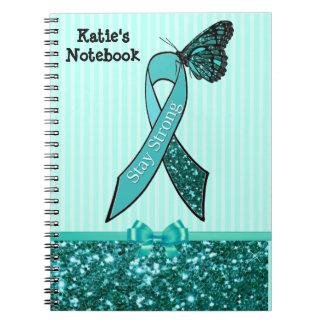Teal Ovarian Cancer Awareness Ribbon & Butterfly C Notebook