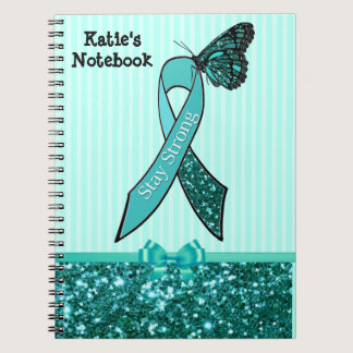 Teal Ovarian Cancer Awareness Ribbon & Butterfly C Spiral Notebook