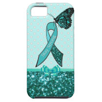 Teal Ovarian Cancer Awareness Ribbon & Butterfly iPhone SE/5/5s Case