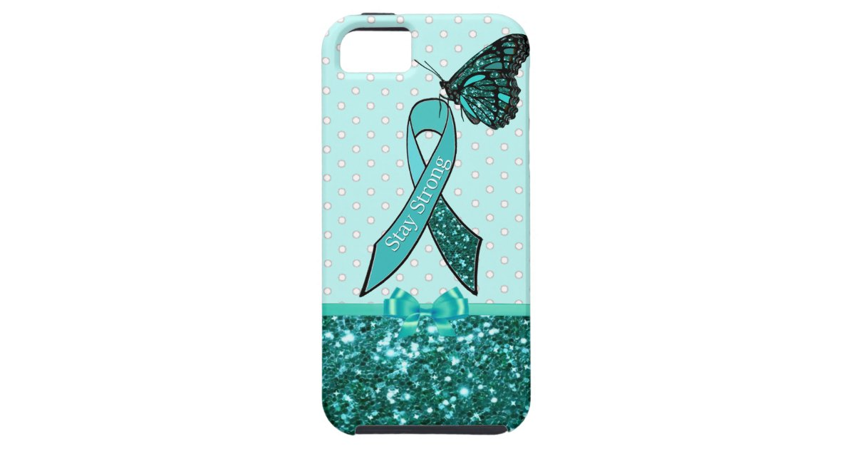 Teal Ovarian Cancer Awareness Ribbon Butterfly Iphone Se55s Case