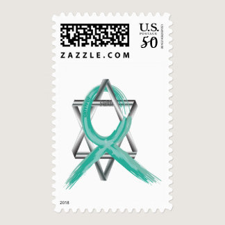 Teal Ovarian Cancer Survivor's Ribbon Postage