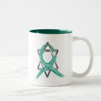 Teal Ovarian Cancer Survivor's Ribbon Two-Tone Coffee Mug