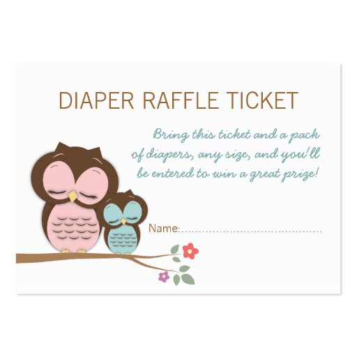 Baby Shower Diaper Raffle Ticket Business Card Templates