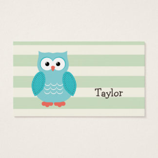 Teal Owl on Pastel Green Stripes Business Card