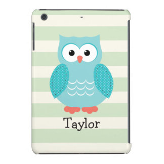 Teal Owl on Pastel Green Stripes iPad Mini Case