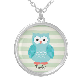 Teal Owl on Pastel Green Stripes Round Pendant Necklace