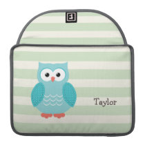 Teal Owl on Pastel Green Stripes Sleeve For MacBook Pro