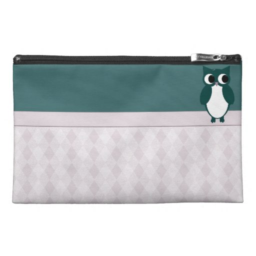 Teal Owl With Argyle Pattern Travel Accessory Bags