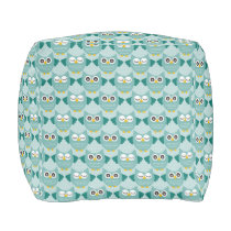 Teal Owls Pouf
