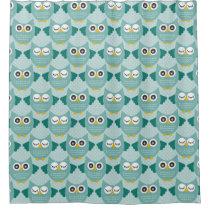 Teal Owls Shower Curtain