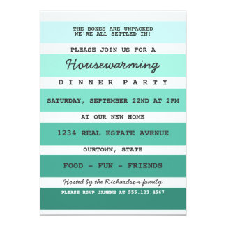 Teal Paint Sample Housewarming Party Card