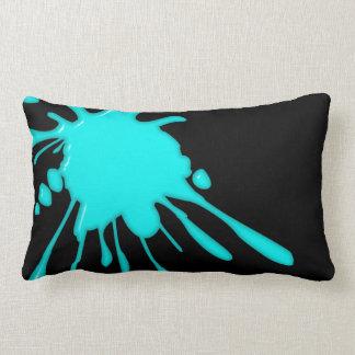 Teal Paint Splatter Black American MoJo Lumbar Pil Lumbar Pillow