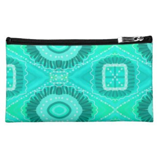 Teal Painted Gypsy Medallion - Quaraun CosPlay Cosmetic Bag