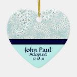 Teal Paisley Adoption Announcement Ornament