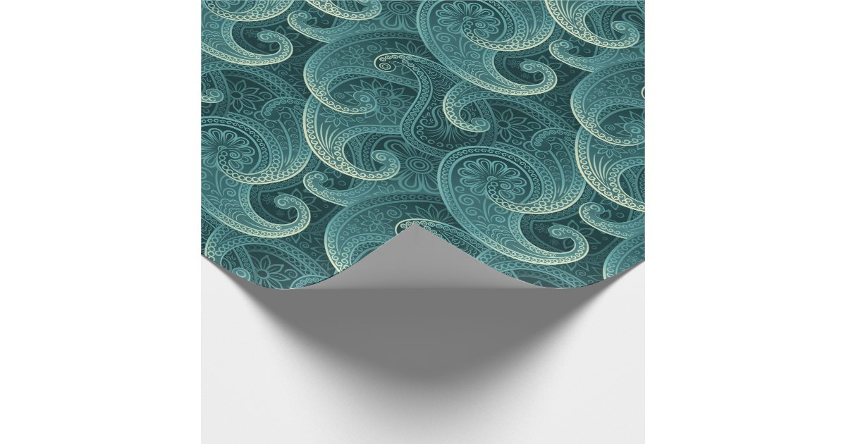 Teal Paisley Timeless Pattern Wrapping Paper Zazzle Com