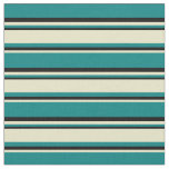 [ Thumbnail: Teal, Pale Goldenrod, and Black Stripes Fabric ]