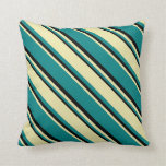 [ Thumbnail: Teal, Pale Goldenrod, and Black Stripes Pillow ]