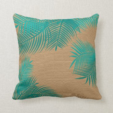 Beach Themed Teal Palm Leaves on Faux Burlap Throw Pillow