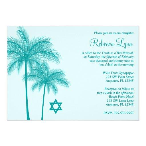 Teal Palm Tree Tropical Bat Mitzvah Invitations