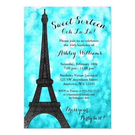 Teal Paris Bokeh Glitter Lights Sweet 16 Card | Zazzle
