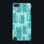 "Teal Pattern of Cute Cats. iPod Touch 5G Case<br><div class=""desc"">A cute pattern in teal with an aqua - turquoise color background. This design features a pattern of sitting cartoon cats.</div>"