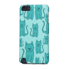 Teal Pattern of Cute Cats. iPod Touch 5G Case at Zazzle