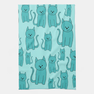 Teal Pattern of Cute Cats. Towel