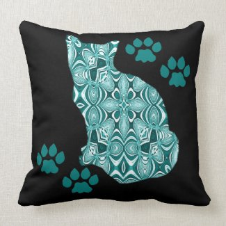 Teal Patterned Cat On Black MoJo Pillows