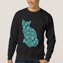 Teal Patterned Cat Sweatshirt
