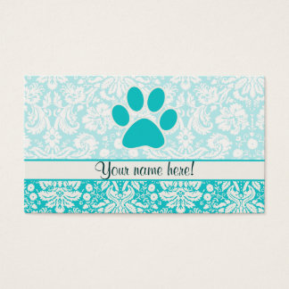 Teal Paw Print Business Card