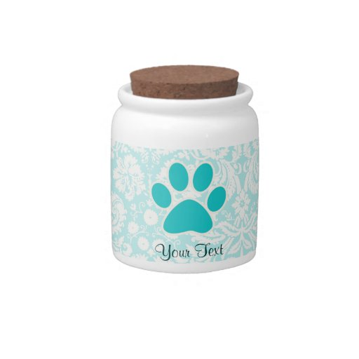 Teal Paw Print Candy Jar
