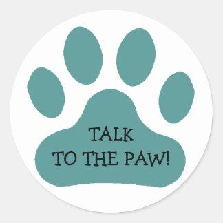 Teal Paw Print Classic Round Sticker
