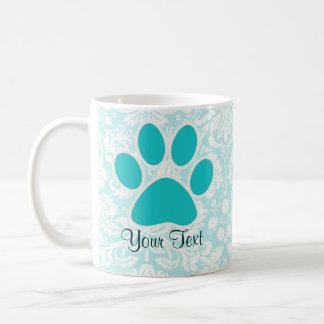 Teal Paw Print Coffee Mug