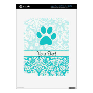 Teal Paw Print iPad 3 Skin