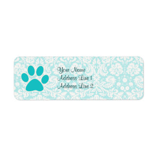 Teal Paw Print Label