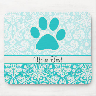 Teal Paw Print Mouse Pad