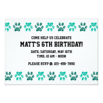 Teal Paw Print Pattern in Teal - Birthday Invitation