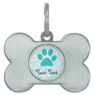 Teal Paw Print Pet ID Tag