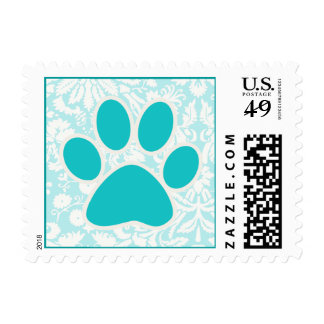 Teal Paw Print Stamps