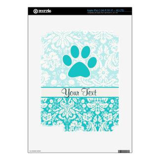 Teal Paw Print Skin For iPad 3