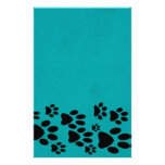 Teal Paw Print Stationary Custom Stationery