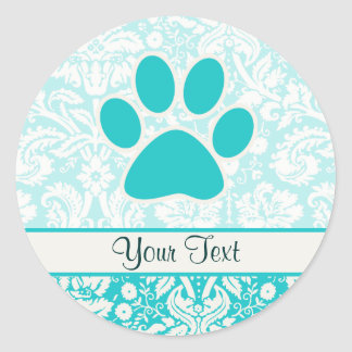 Teal Paw Print Round Stickers