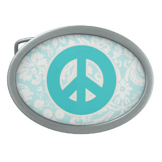 Teal Peace Sign Belt Buckles
