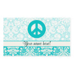Teal Peace Sign Double-Sided Standard Business Cards (Pack Of 100)