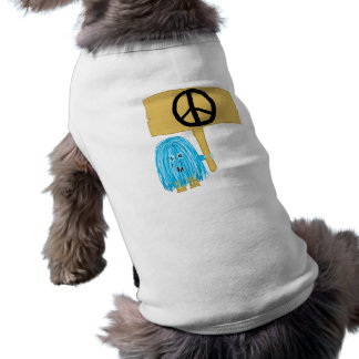 Teal Peace Sign Dog Tshirt