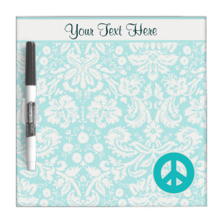 Teal Peace Sign Dry Erase Board