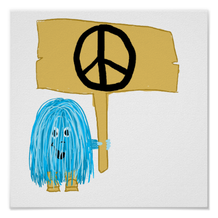 Teal Peace Sign Poster